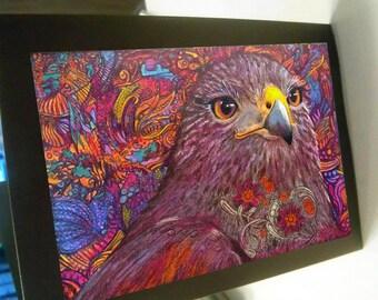 Greeting card zentangle hawk dazzle blank card
