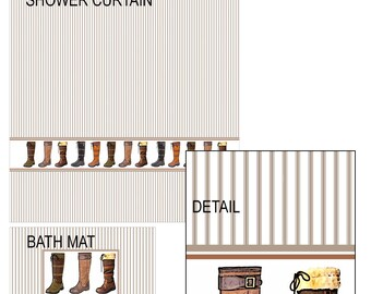 Boots Shower Curtain and Bath Mat