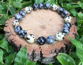 Snowflake Jasper and Dalmatian Jasper(8mm) Beaded Bracelet - Gemstone Bracelet- Oliver Grey Jewelry - Gemstone Bracelet - Earthy Jewelry