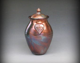 Raku Urn or Lidded Vase with Heart in Metallic Iridescent Colors