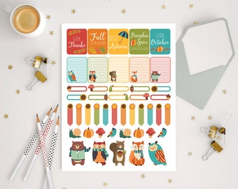 45 cute fall stickers, Autumn Sticker set for use with ERIN CONDREN LIFEPLANNER™, september and october animals decorative planner stickers