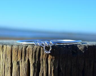 Eco Sterling Silver Charm Bangle