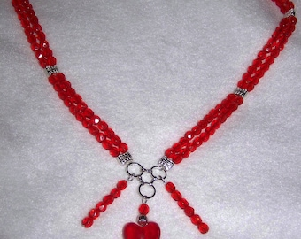 Czech bead and Lampwork heart necklace