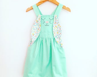 Sweet Bunny Pinafore, girlswear, cotton,handmade clothing,  hand embroidered, easter dress