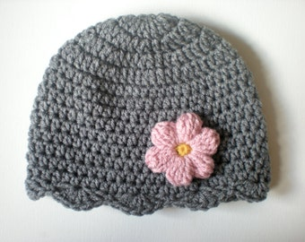 PATTERN:  Lolo Hat- Easy Crochet PDF, Size NB- Adult, scalloped flower beanie, headband & corsage, InStAnT DoWnLoad, Permission to Sell