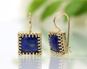 SUMMER SALE - Lapis Lazuli earrings,gold earrings,square earrings,dangle earrings,September birthstone earrings,gemstone earrings