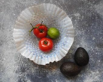 White Opalescent Hobnail Glass Ruffle Bowl- Decorative Glass- Fruit Bowl