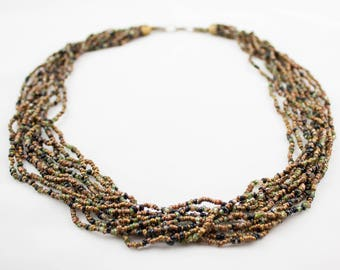 Vintage Brown Black Green Ceed Beads Multi Strand Beaded Necklace