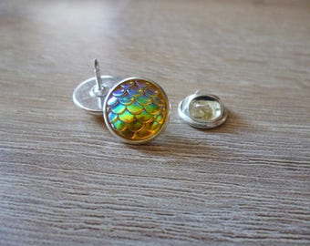 Badge pins - style - 12 mmo - dragon egg Cabochon glass transparant