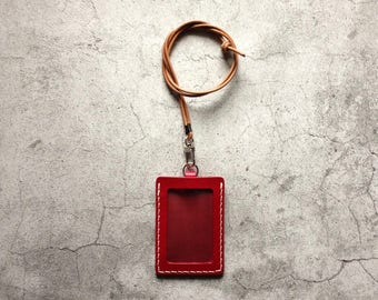 Red Leather ID Holder Badge Holder ID Case