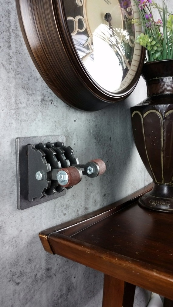 Industrielle Steampunk Doppel Lichtschalter Platte mit Holz