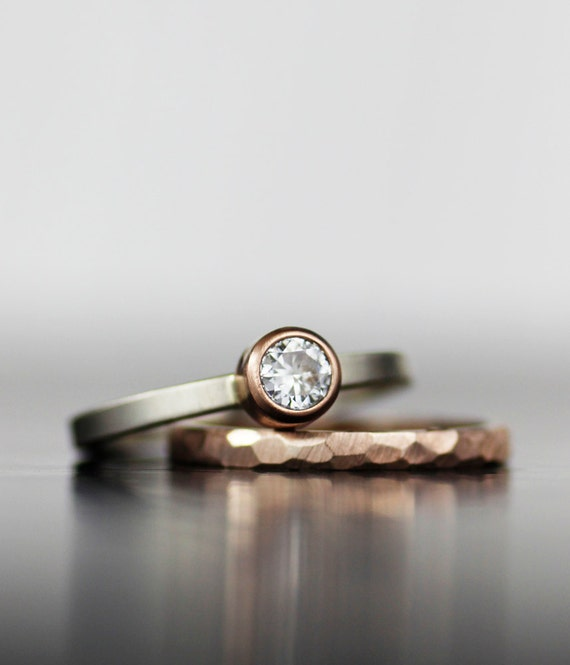 Wedding ring set rose gold stacking alternative moissanite