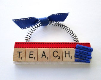 Teach Scrabble Tile Ornament