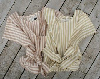 WRAP TOP - organic cotton stripes - plant-dyed