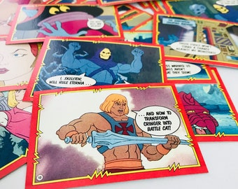 He Man Masters of the Universe Kids Trading Cards, 1985 Mattel MOTU, 1980s Father's Day Gift, Skeletor, He-Man, Teela, Beast Man, SET OF 50