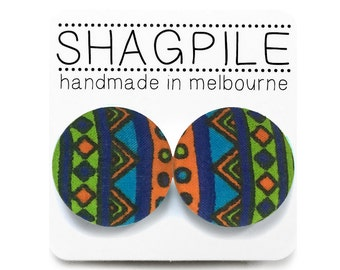 Large Button Stud Earrings - Tribal Geometric Print - Green Orange + Blue - Nickel Free Surgical Steel Posts