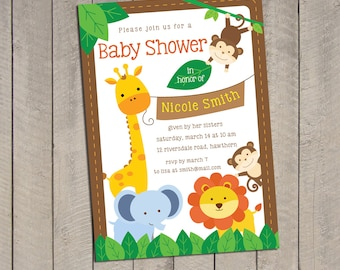 Safari Baby Shower Invitation / Jungle Safari Baby Shower Invitation / Baby Shower Safari invitation / Safari invitation