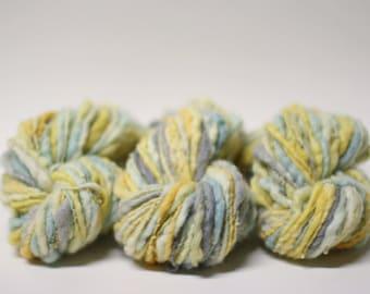 Handspun Thick and Thin Prefelted Yarn Hand Dyed Merino Slub tts (tm) miniLR1602