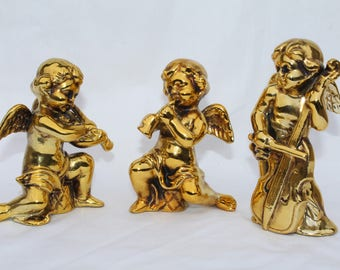 Vintage Gold Ceramic Cherub Angels Figurines Made in Japan