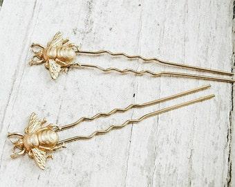 beekeeper - golden honey bee hair pin set