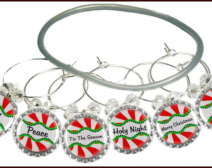 Christmas Wine Charms - Peppermint Twist Bottle Cap 6 pack