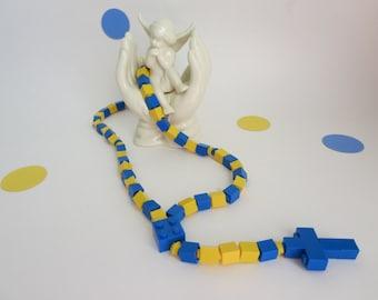 Catholic Kids Rosary Rosary Made of Lego® Bricks -  Blue and Yellow Catholic Kid Rosary - Ready to Ship