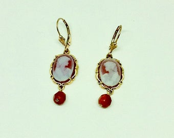 Red agate dangle earrings