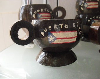 2 Real Coconut Cups For Rum or Coffee- Hand Painted P.R Flag - Tiki Bar