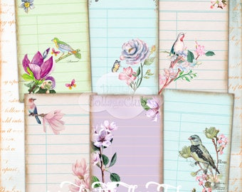 Watercolour Flowers and Birds Library Cards Digital Collage Sheet Imagesa for Cardmaking Scrapbooking Decoupage Journaling