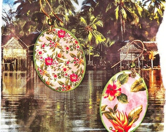 """Jungle"" Hibiscus earrings"