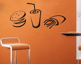Burger, Fast food,Hot Dog,Food,Pastry, Bakery, Baked goods, Baked products, Wall Decal Window Sticker Handmade1202