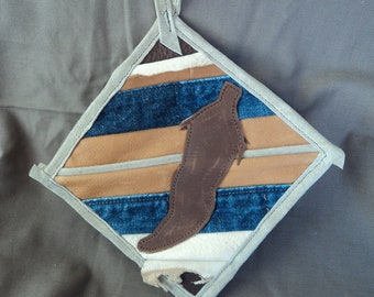 Leather and Denim Potholder