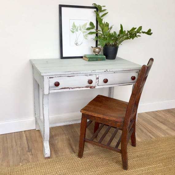 Shabby Desk - Empire Furniture - Small Writing Table - White Wood Desk - Farmhouse Furniture - Foyer Table / Desk with Drawer