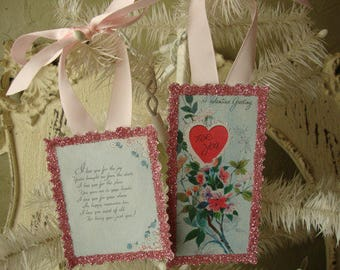 Sentimental gift tags for friend Valentine gift tags ornaments pink glittered vintage valentine card scrap tags Valentine's day ornaments
