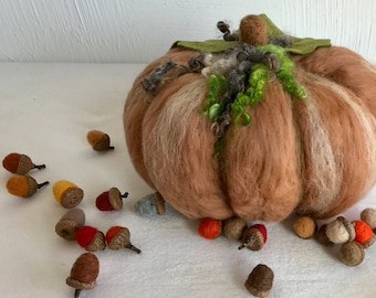 Needle Felted Pumpkin, Large Wool Pumpkin, Fall Decoration