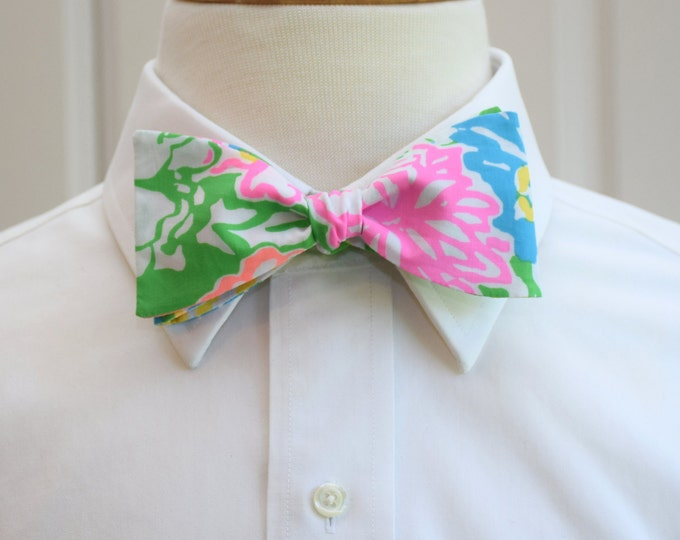 Men's Bow Tie, Hibiscus Stroll Lilly print, green/pink/blue bow tie, wedding party bow tie, groom/groomsmen bow tie, prom tie, Easter bowtie