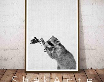 Baby Animal Nursery Prints, Raccoon Print, Woodland Nursery Wall Art, Woodlands Animal Print, Woodland Baby Shower Decor, Poster Racoon