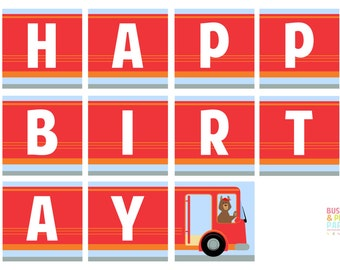 PRINTABLE Wheels on the Bus Party #Banner - #DIY #Digital #File (instant download)