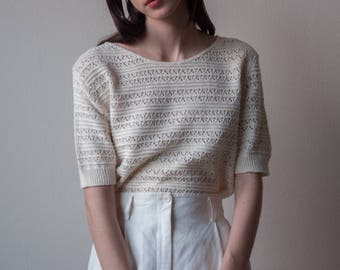 1960s open weave knit sweater / cotton short sleeve sweater / cut out top / s / 3297t