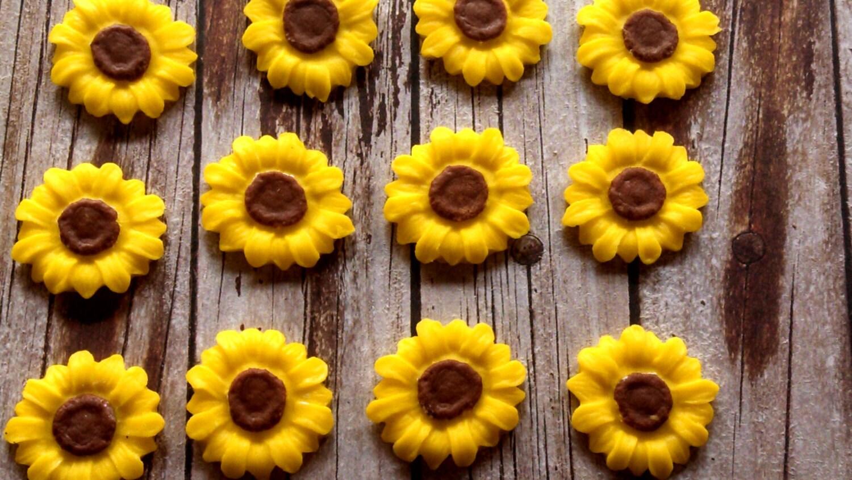 Fondant Sonnenblumen-Fondant Blumen-Fondant gelb Blumen-Set