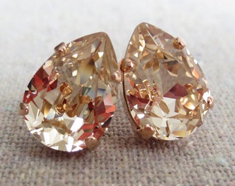 Swarovski Champagne Crystal Teardrop Rhinestone Pear Rose Gold Post Earrings Wedding Bridal Jewelry Bridesmaids Presents Gift for Her
