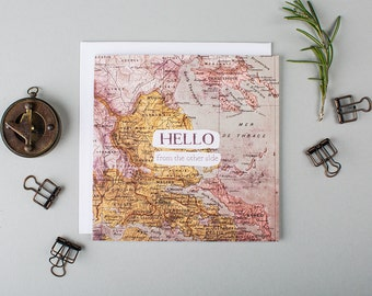 Funny Long Distance Card - Miss You Cards - Long Distance Relationship - Friend - LDR - Miles Apart - Hello From The Other Side - Hello Card