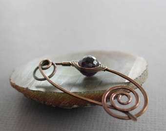 Shawl pin, scarf pin with dark purple amethyst stone - Amethyst pin - Stone pin - Fibula, Knitting accessory, Beaded brooch, SP118