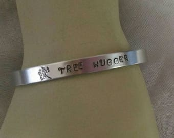 Personalized cuff Bracelet, Personalized Name Bracelet, Aluminum Cuff Bracelet, Initial name Bracelet, Tree hugger bracelet