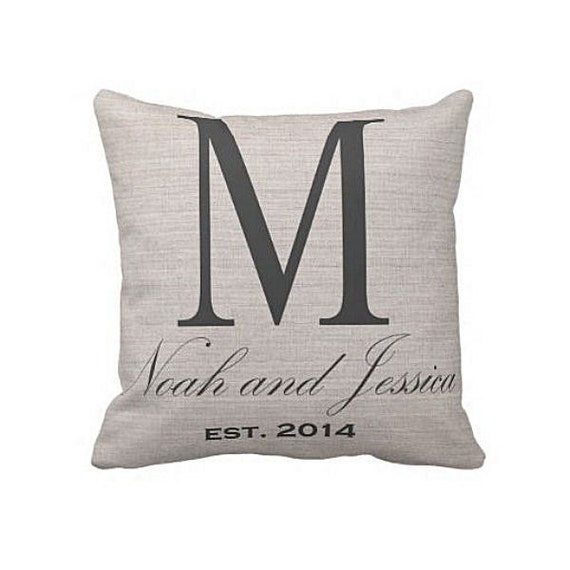 Cotton Wedding Gift: Cotton Anniversary Gift Pillow Cover Large Initial Wedding