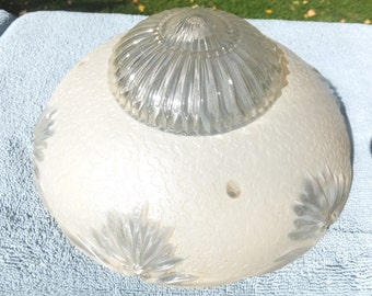 Beautiful Vintage Ceiling Light Cover- Frosted Glass Sunflowers