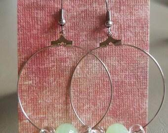 Cute green bead hoop earrings