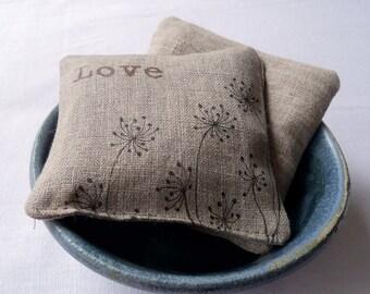 Lavender Sachet, Linen Lavender Sachets, Dandelions and Love,  gardening gift, stocking stuffer, set of 2