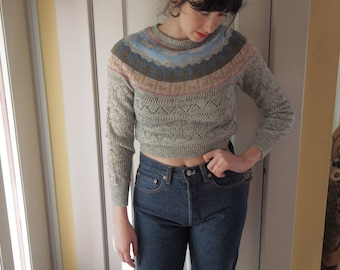vintage late 70s/ early 80s mountain forest knit wool blend sweater /XS S