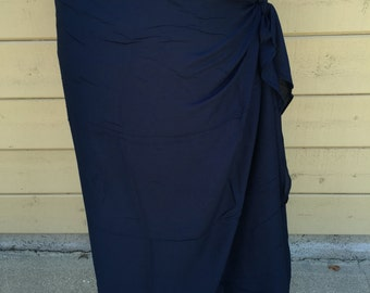 Dark blue, Navy blue Pareo-solid color-full and half sized-rayon- sarong, pareau